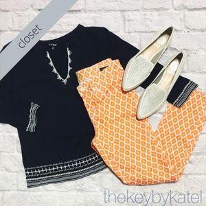 C Wonder Orange + White Printed Skinny Crop Jeans